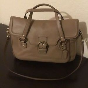 Coach Campbell Leather Eva Flap Satchel Taupe F261